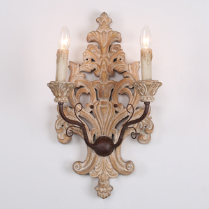 Wooden carved wall lamp large