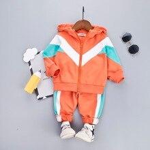Com capuz conjunto de roupas do bebê menino para a criança das meninas roupas retalhos esporte terno criança zíper jaqueta + moletom