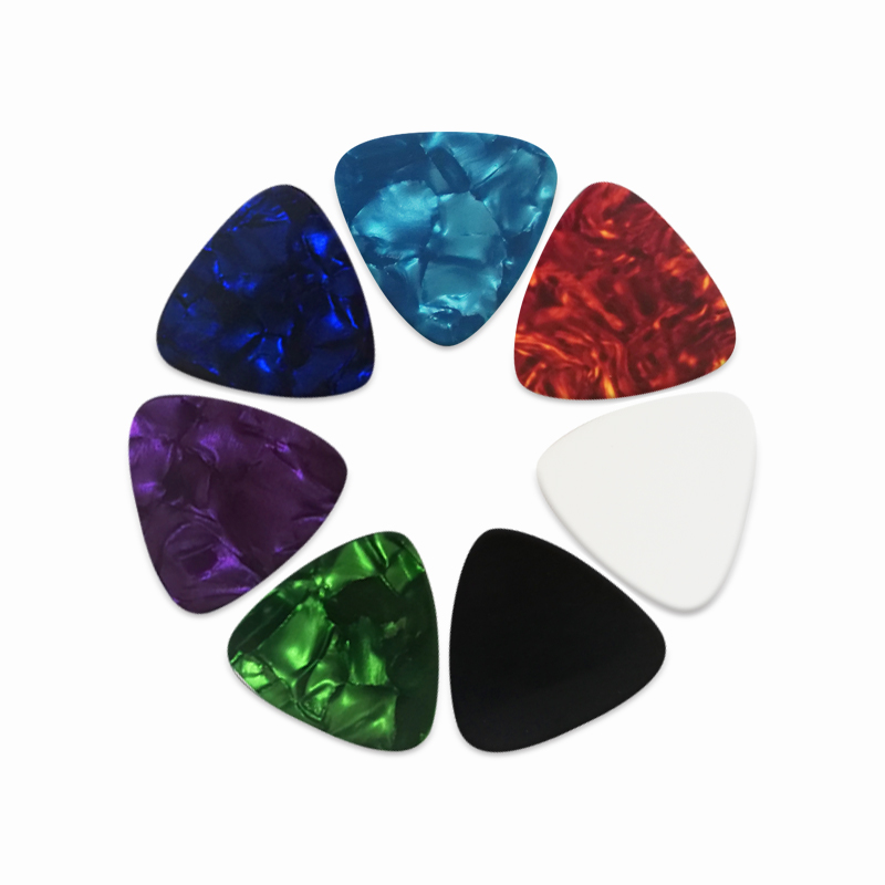 100 Pcs Multi Colors Triangle Shape Celluloid Pearl Color Guitar Picks Blank Pearl Marbled Picks Can Customize