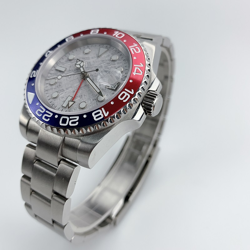 Watch Men Automatic Mechanical GMT 40MM Meteorite Dial Sapphire Crystal blue red Ceramic Bezel Waterproof Luminous - 2
