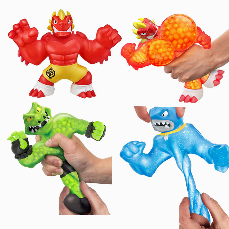 50 Pcs Lot Super Hero Goo Jit Zu Squeeze Squishy Rising Anti Stress Toys Action Figure Rubber Dolls For Boys Kids Cartoon Dragon