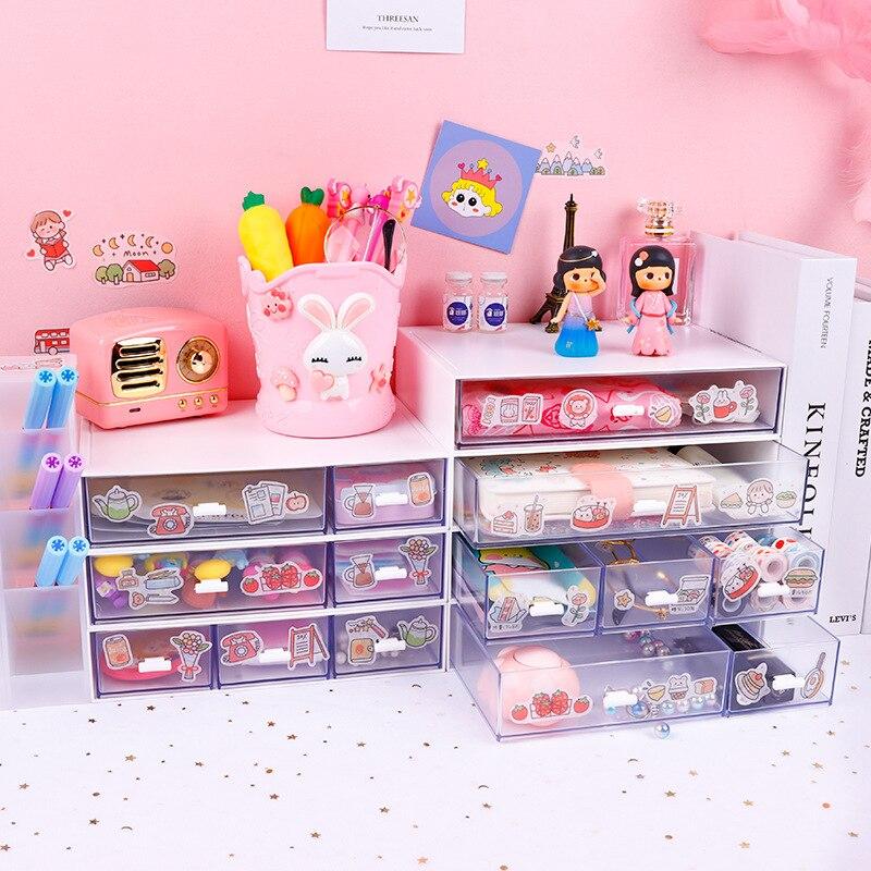 Yisuremia Kawaii Abs Drawer Desk, Pink School Desk Organizer