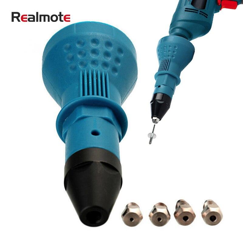 Realmote Điện Kéo Đinh Tán Súng Adapter Tán Đinh Công Cụ Máy Khoan Không Dây Lắp Đai Ốc Cho Mù 2.4 Đến 4.8 Mm