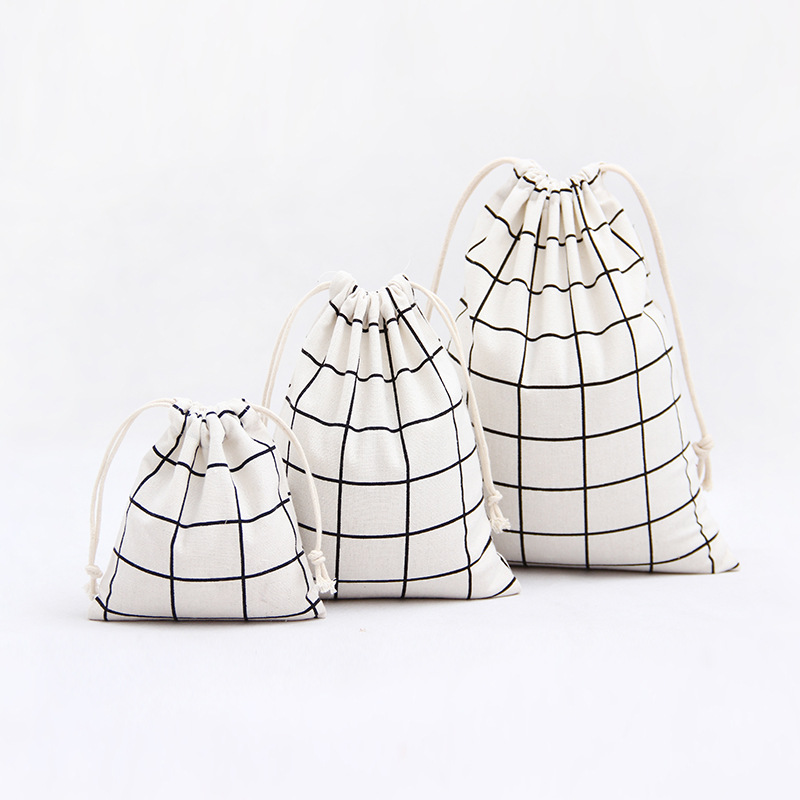 3 Size Lattice Design Printed Drawstring Bag Pocket Storage Solid Color Pattern Backpack Women Cotton Fabric Bags