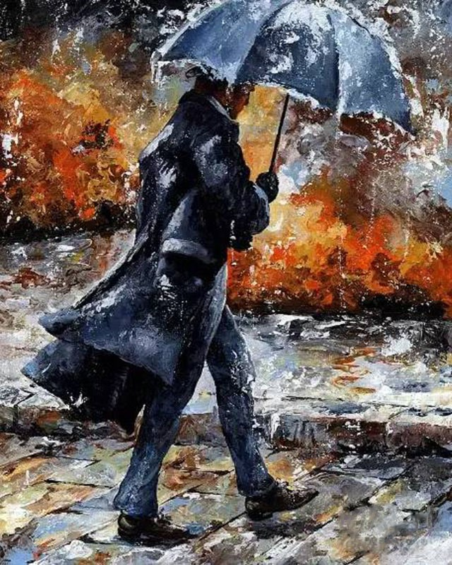 Frameless walking Man Umbrella DIY Painting By Numbers Modern Wall Art  Picture Acrylic Paint By Numbers For Home Decor Paint By Number  -  AliExpress
