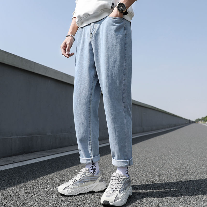 New Loose Men Jeans Male Trousers Simple Design High Quality Cozy All match Students Daily Casual Straight Denim Pants