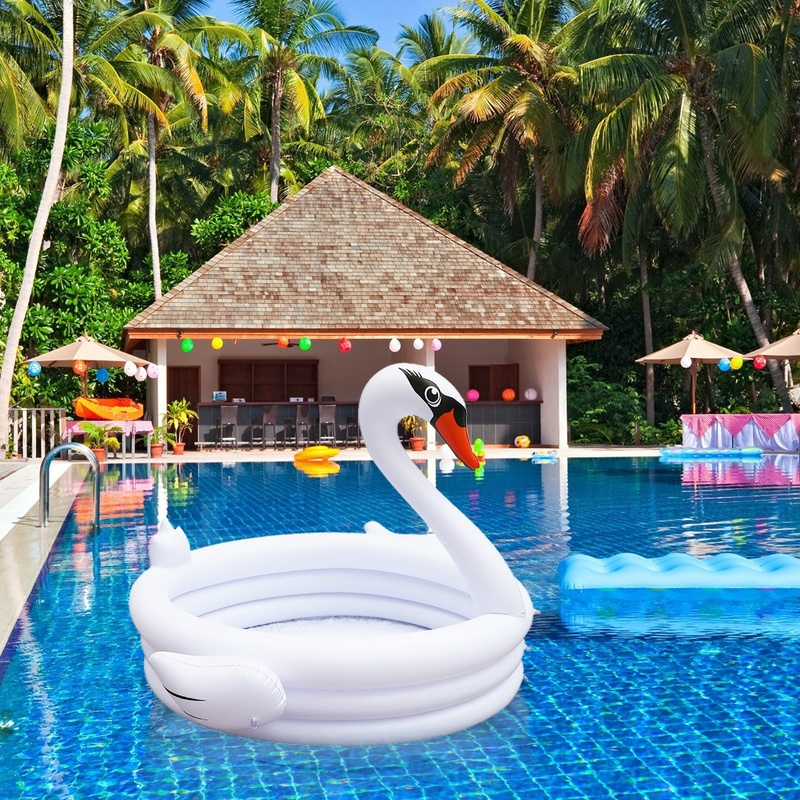 Zhenwei INS Inflatable White Swan Shaped Children Baby Swimming Pool Beach Party  Summer Toys Ride-on Toddler Toys