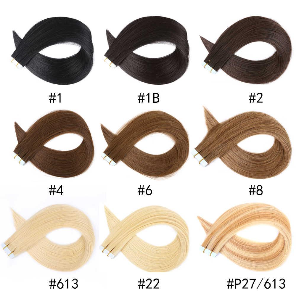 Tape In Human Hair Extensions Huid Inslag Machine Remy 20Pcs 40Pcs Adhesive Dubbelzijdig Tape In Hair Extensions gratis Verzending
