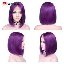 Wignee Short Bob Wig Human Hair Remy Brazilian Lace Part Pixie Cut Human Wig for Black/White Women Short Straight Purple Bob Wig стоимость