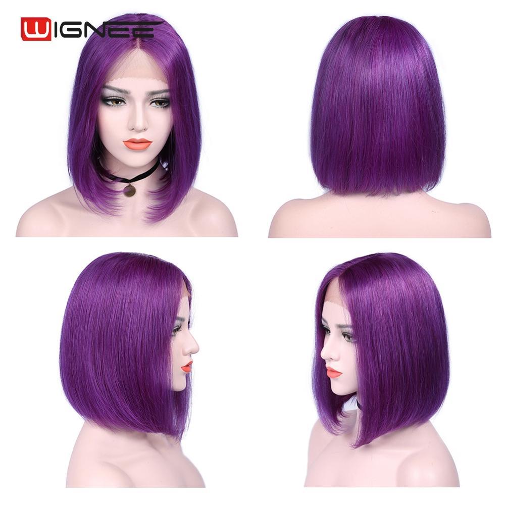 Wignee Short Straight Hair Purple Bob Wig For Black Women Remy Brazilian Hair Lace Part Short Pixie Cut Glueless Bob Human Wig