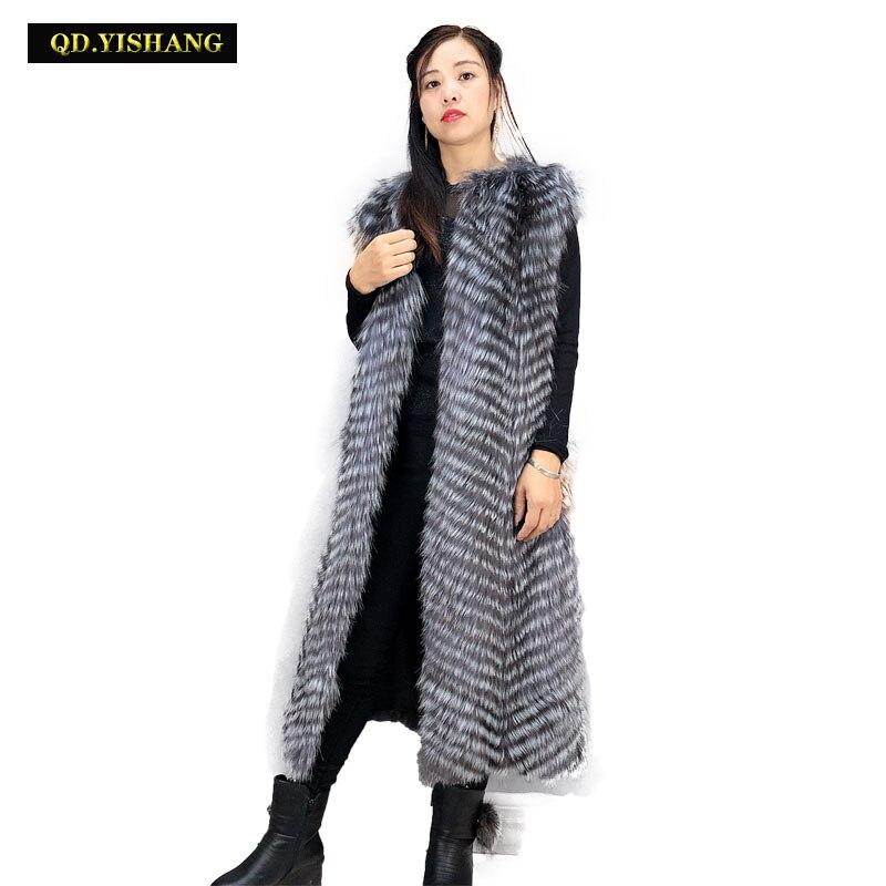 Real Fur Vest Women Winter Real Fox Fur Vest Long Ladies Winter Fox Fur Vest Fashion Keep Warm Spring And Autumn QD.YISHANG