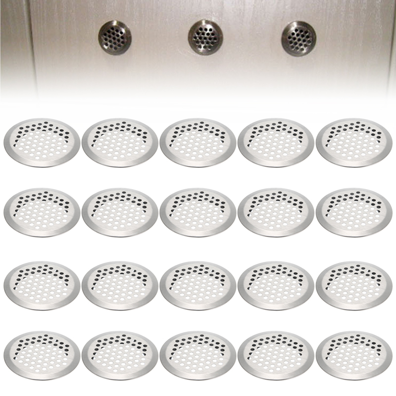 20pcs Stainless Steel Slotted Grille Cupboard Exhaust Ventilation Grille Set Air Vent Air Circulation Round Parts