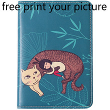 picture photo customized print Passport ticket storage bag cute leather passport holder multi-function travel abroad wallet bag