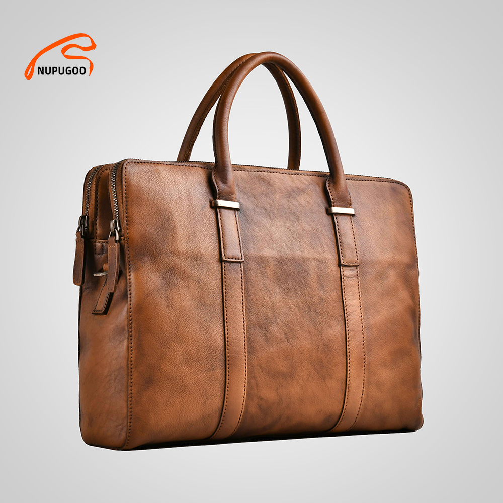 Genuine Leather Bag For Men Briefcases Brown Vintage Casual Business Laptop Handbag 13.3 Inch MacBook For Documents Work