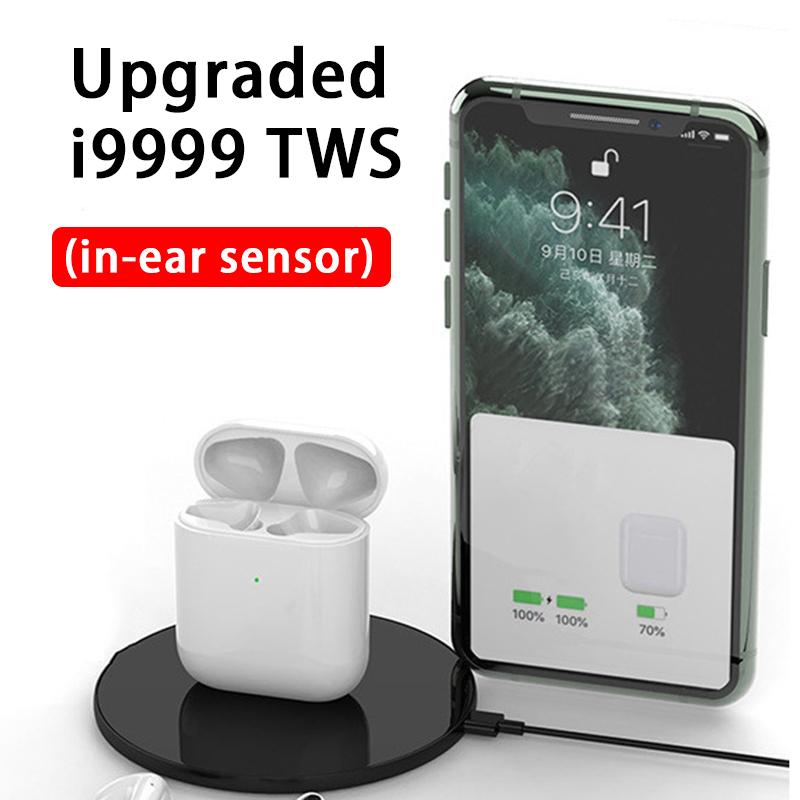 Smart Sensor Touch Bluetooth Earphone Replica Pop Up Earbuds i9999tws Wireless Charging Earphones Power Display PK i80 i500 <font><b>TWS</b></font> image