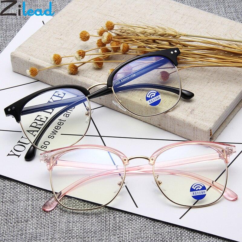 Zilead Half Frame Anti Blue Light Glasses Frame Square Optical Sepectacles Computer Games Eyeglasses Eyewear For Men Women