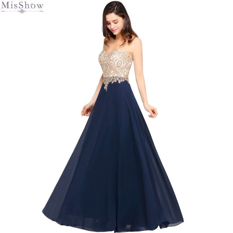 Misshow Elegant Evening Dress Navy Blue Chiffon Long Formal Gown A Line Lace Applique Scoop Neck Sleeveless Robe De Soiree