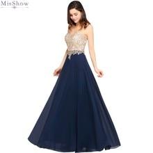 Misshow Elegant Evening Dress Navy Blue Chiffon Long Formal Gown A line Lace Applique Scoop Neck Sleeveless robe de soiree