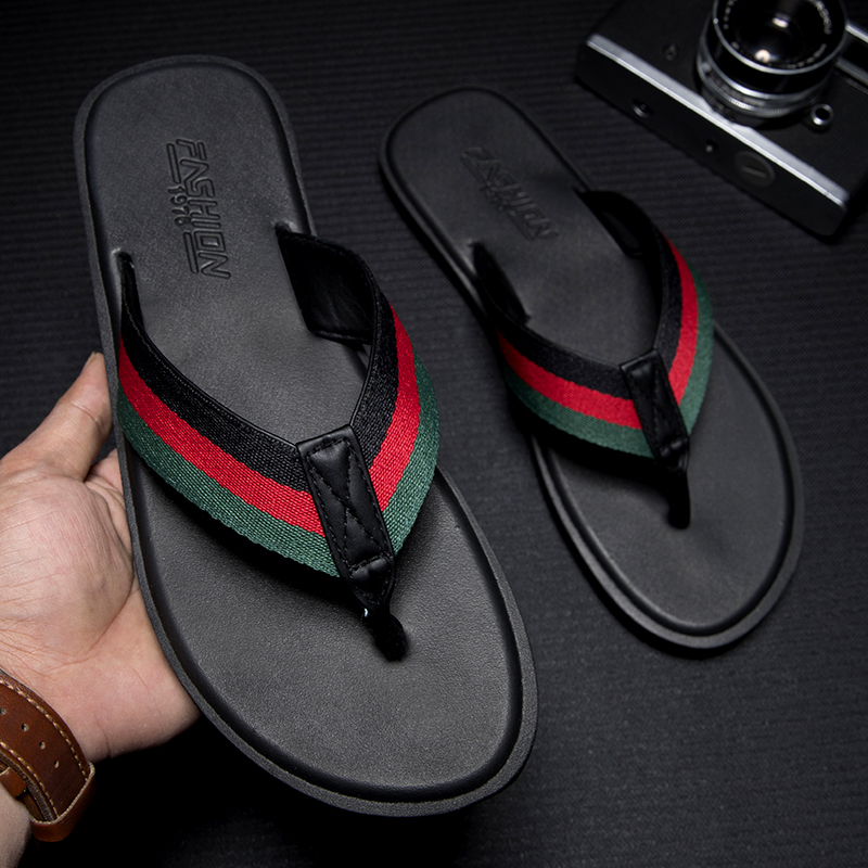 WEH Summer Men Rubber Slippers Handmade flip flops for men Comfortable Breathable Beach Classic Casual Flats men luxury shoes title=