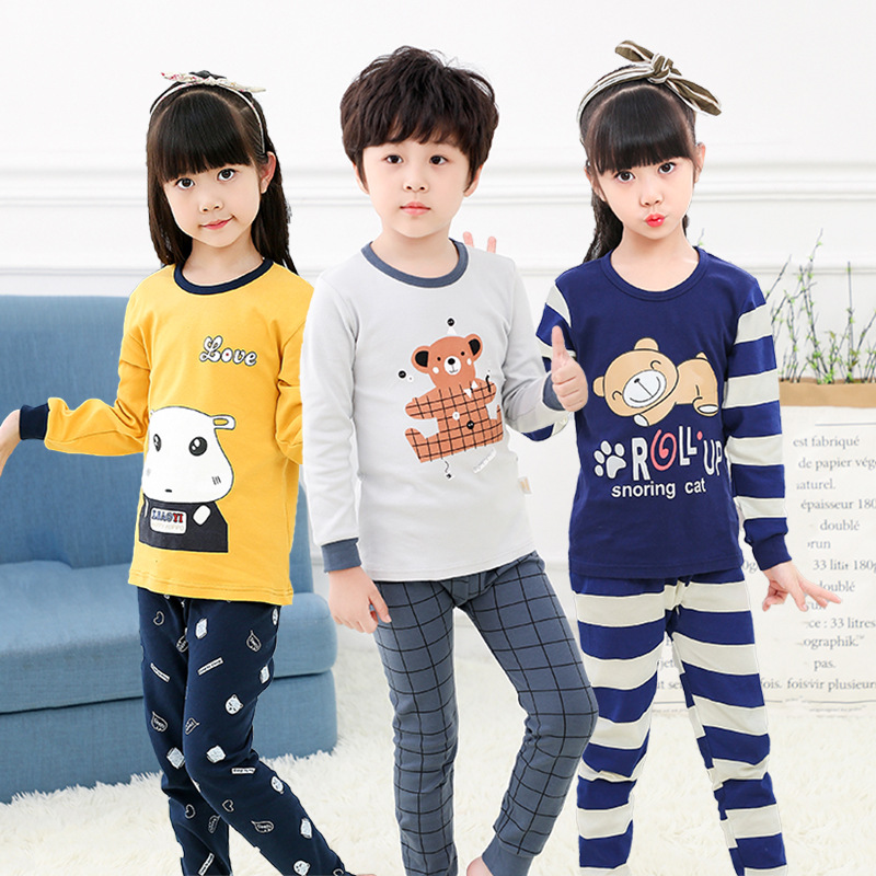 Pajamas Set Children's Pajamas Girls Boys Cartoon Leisure Long Sleeve Leisure Casual Homewear Cute Animal Spring Autumn Winter
