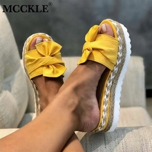 MCCKLE Slippers Women Slides Bow Summer Sandals Bow-Knot Slippers Thick Soles Flat Platform Female Floral Beach Shoes Flip Flops