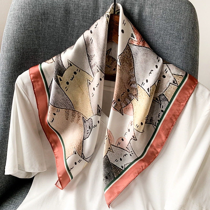 Luxury Kerchief Silk Hair Scarf For Women Fashion Print Bandana Head Satin Scarfs 53*53cm Small Headband Neck Scarves For Ladies