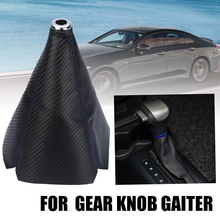 Mayitr 1pcs Blue Carbon Style Leather Manual Gear Shift Knob Boot Cover Gaiter Universal For Most Car