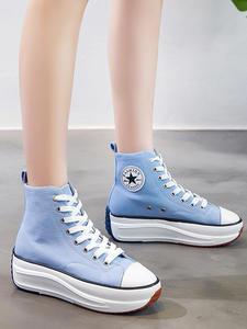 Парусиновая обувь; Женские модные кроссовки; Женские высокие кроссовки; Женская Осенняя обувь; Дышащие кроссовки; Обувь на платформе