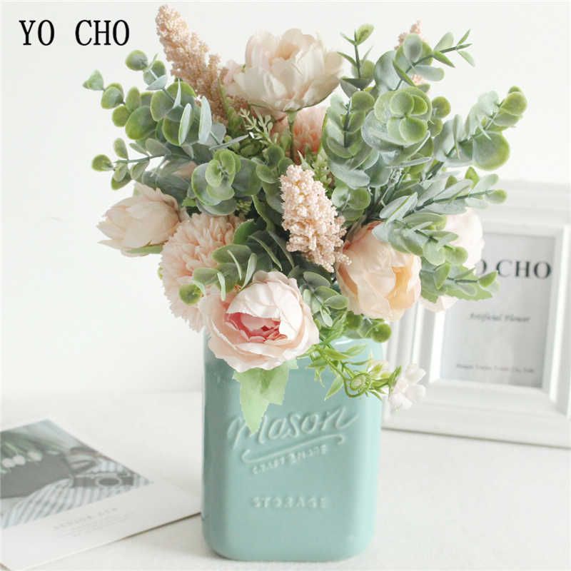 YO CHO Fake Peony Flowers Head Green Leaves Bouquet For Wedding Home Decoration DIY Decorative Artificial Flower Eucylaptus Leaf