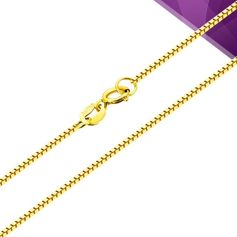 Solid 18K Gold Necklace 0.5mm Box Link Chain Necklace for Women Thin Chain 3 Metals available