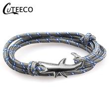CUTEECO Shark Anchor Bracelets Men Charm Chain Rope Metal Bracelet Anchor Hooks Jewelry Women Gift New Fashion Bracelet layered anchor knitted bracelet