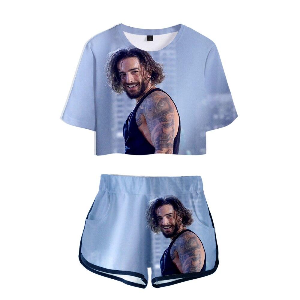 Maluma 3D Polyester Women Suit Trend Summer Umbilical Shirt Woman Fashion Casual Cool Summer Fashion Set
