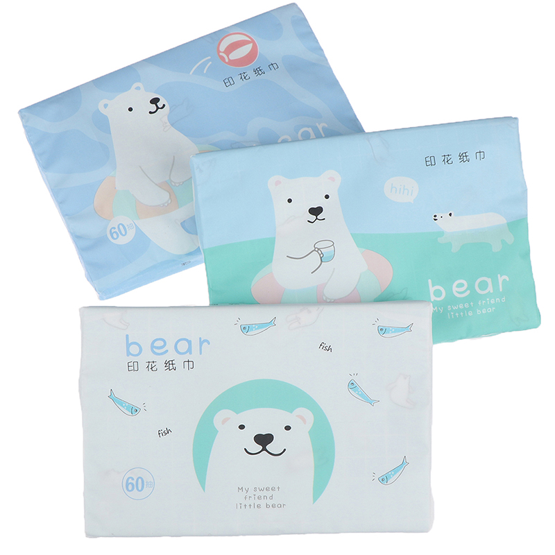 60pcs /bag Disposable Paper Tissues Thickened Cute Colorful Cartoon Printing Napkins