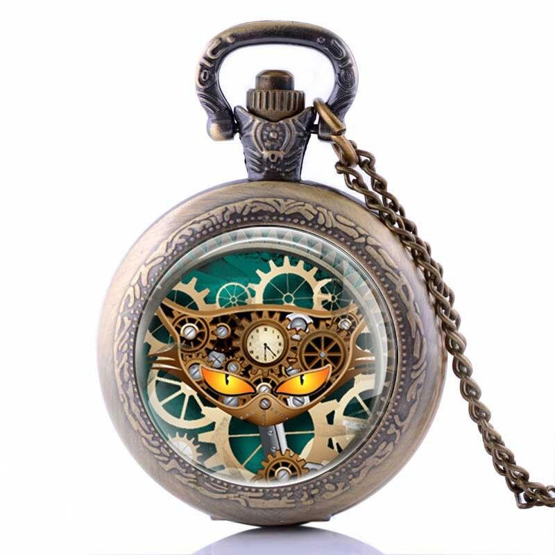 Vintage Zodiac Pattern Pocket Watch Modern Necklace Chain Copper Retro Style Twelve Constellation Men Women Clock  Gift