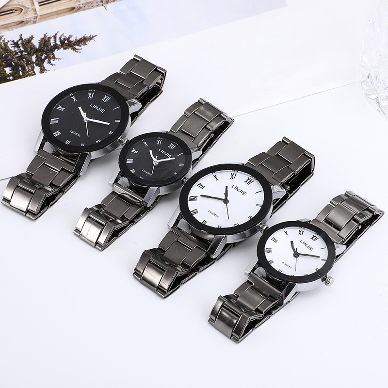 Fashion Couple Wrist Watch Business Clock Silver Mens Quartz Stainless Steel Watches Fashion Casual Ladies Quartz Wristwatch