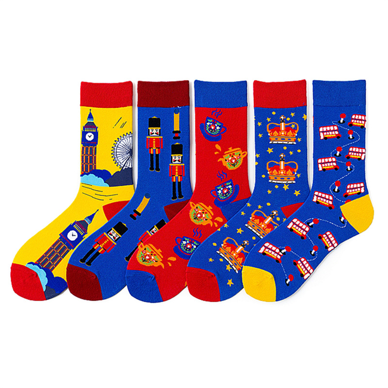 Happy Mens Socks Double-decker Bus Guard Crown Big Ben Ferris Wheel Teapot Funny Socks Combed Cotton Calcetines Largos Hombre