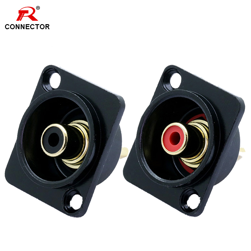 2pcs  Female RCA Panel Mount Chassis Socket Connector, Excellent Quality, Black Female Socket, Red&Black Colors Available