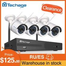 Techage 4CH 1080 1080p 2MPワイヤレスnvrキットcctvシステム屋外irカットオーディオwifi ipカメラP2P hdセキュリティビデオ監視キット