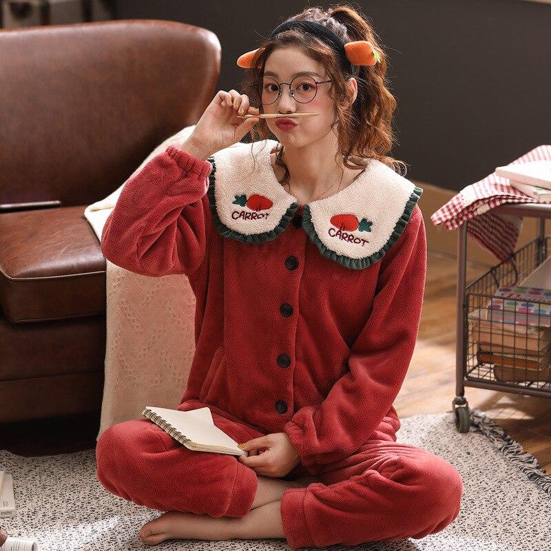 Christmas costume Coral velvet pajamas ladies Thicken warm models long-sleeve homewear women pijamas women onsie  pijama mujer
