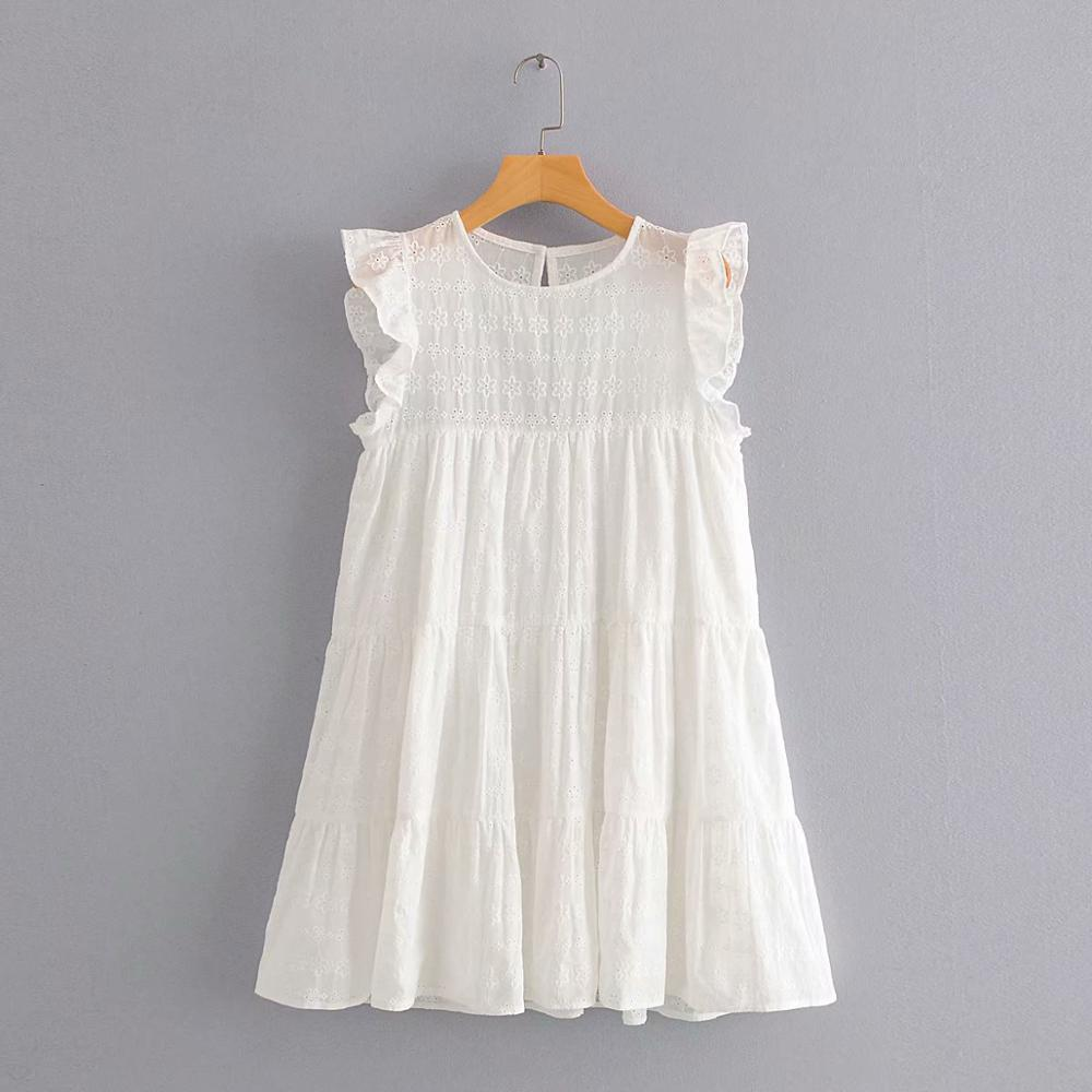 New women sweet ruffles hollow out embroidery white mini dress chic female o neck sleeveless casual vestido party dresses DS3708