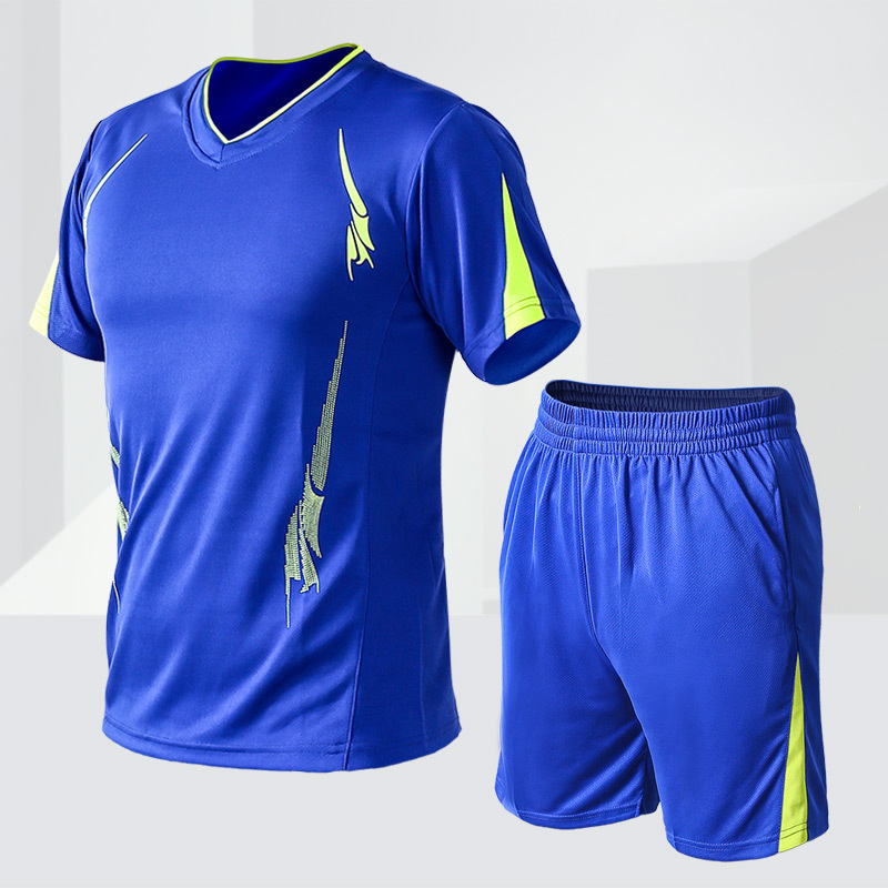 MEN'S Sport Suit Morning Run Fashion Athletic Clothing Casual MEN'S Short-sleeved Shirt Short Shorts Fitness Two-Piece Set