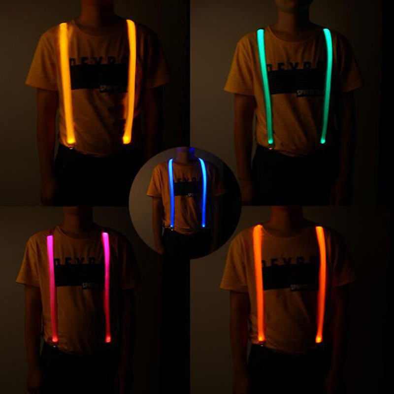 Novelty Fashion Suspenders Clip-on LED Light Night Cycling New Unisex Adult Elastic Y-back Adjustable Braces Suspenders
