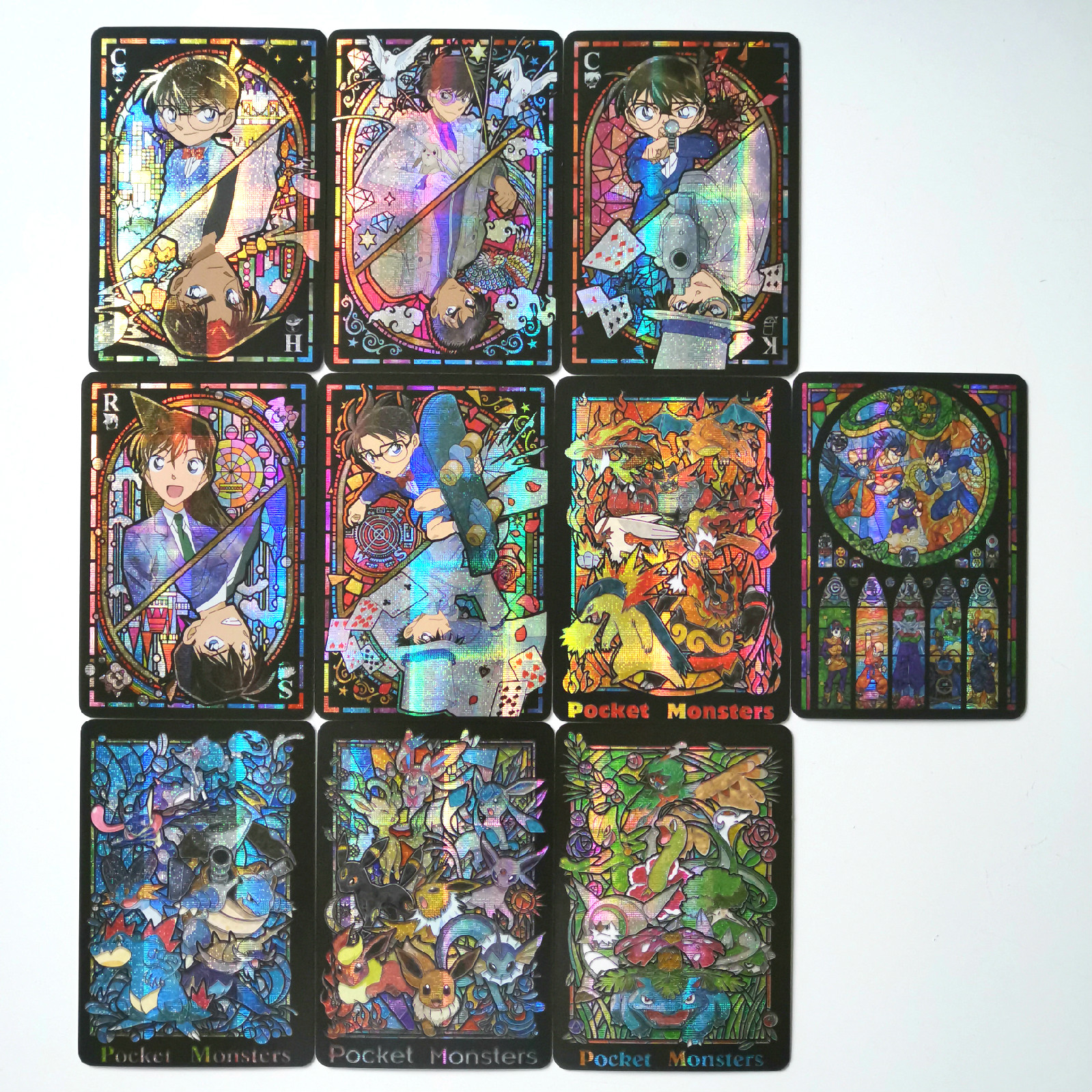 10pcs/set Detective Conan Dragon Ball Stained Glass Toys Hobbies Hobby Collectibles Game Collection Anime Cards