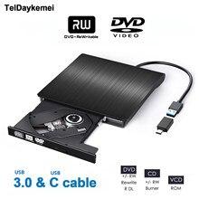 Tragbare USB 3,0 Typ C DVD-ROM Optisches Laufwerk Externe Schlank CD ROM Disk Reader Desktop PC Laptop Tablet Förderung DVD player