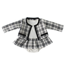 New 2019 Winter Baby Romper With Coat For Girls Plaid Jumpsuit Baby Onesie Toddler Clothes Baby Costume Overalls For Girls цены онлайн