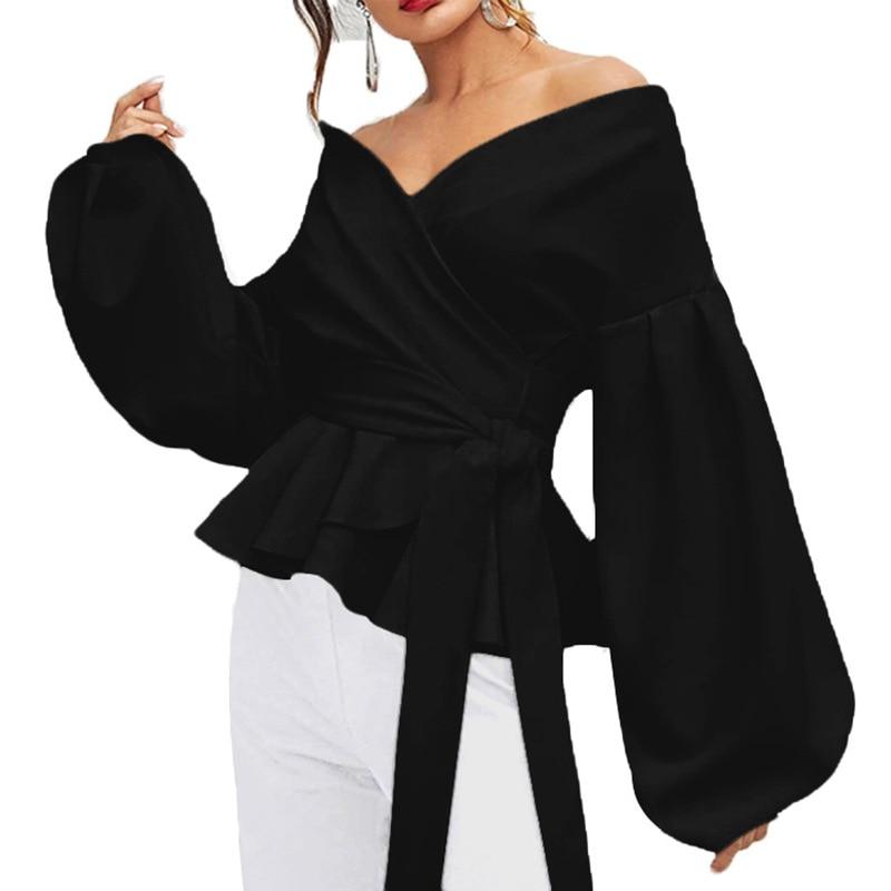 Fashion Women Long Sleeve BlouseCasual  Up Shirts Elegant Asymmetric Tops Sexy strapless lantern sleeve top bow  waist shirt 3
