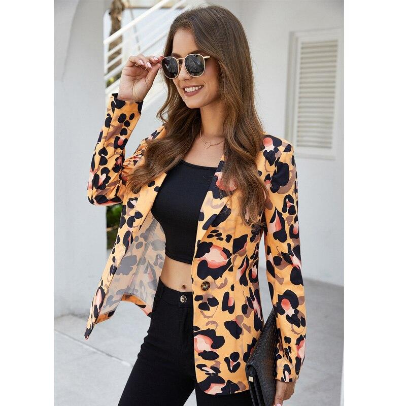 Leopard Women Casual Jacket Autumn Long Sleeve Turn-Down Collar Suit Coat Single Button Slim Formal Blazer Streetwear