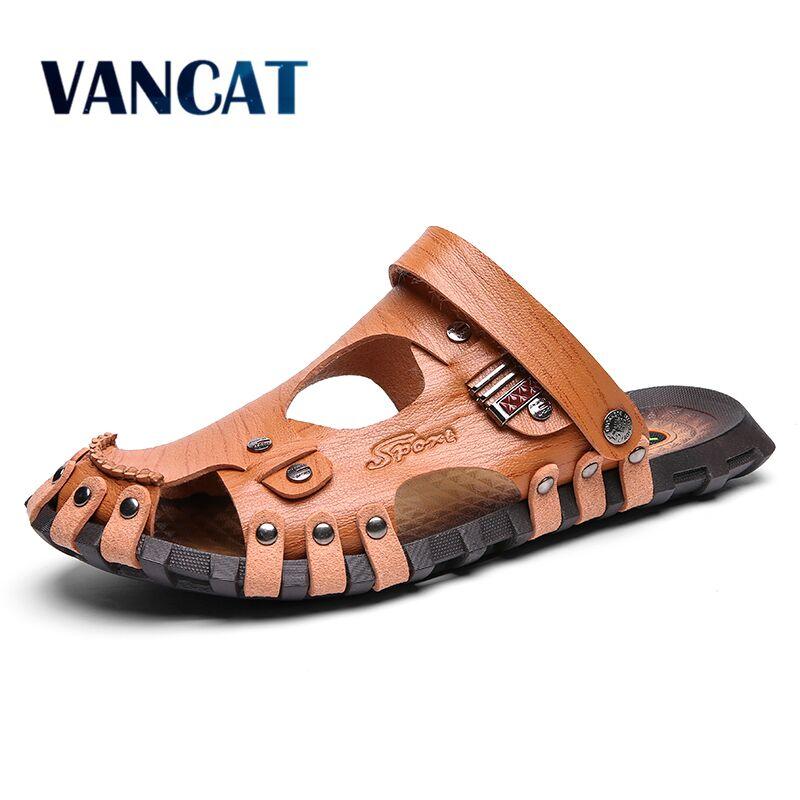 New Summer Men Sandals Breathable Leather Men Beach Flip Flop Brand Men Casual Shoes Comfortable Slip-on Men's Shoes Size 38-47
