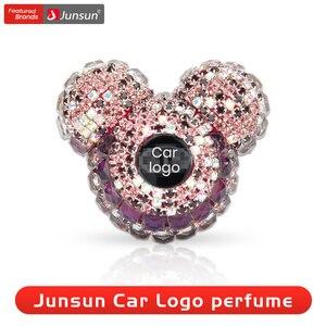 Image 1 - Junsun пользовательский автомобильный логотип парфюм для стайлинга автомобиля дамские духи освежитель воздуха для автомобиля Алмазный кондиционер на выпускной зажим Украшение