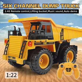 OCDAY RC Truck 2.4G 6CH Remote Control Alloy Dump Truck Big Dump Truck Engineering Vehicles Loaded Sand Car RC Toy For Kids Gif a016 rc excavator toy rc engineering car mini rc truck rechargeable simulated excavator dump truck model toy vehicles for kids